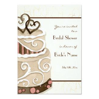 Invitación nupcial de la ducha de la torta de invitación 12,7 x 17,8 cm