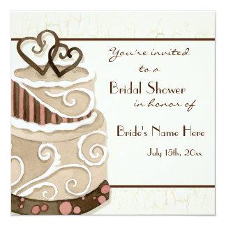 Invitación nupcial de la ducha de la torta de invitación 13,3 cm x 13,3cm