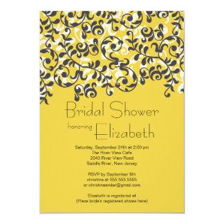 Invitación nupcial de la ducha de la voluta negra