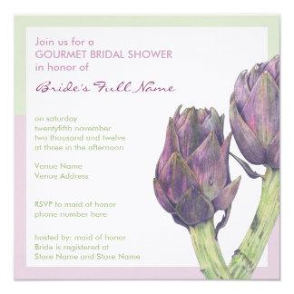 Invitación nupcial de la ducha de las alcachofas