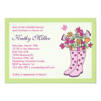 Invitación nupcial de la ducha de las botas de
