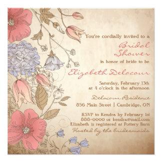 Invitación nupcial de la ducha de las flores rojas