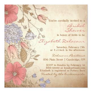 Invitación nupcial de la ducha de las flores rojas invitación 13,3 cm x 13,3cm