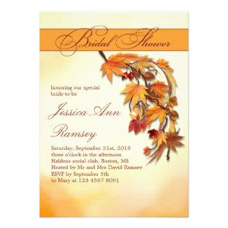 Invitación nupcial de la ducha de las hojas otoñal