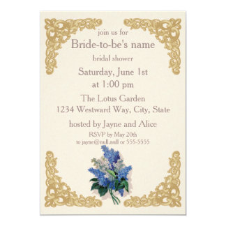 Invitación nupcial de la ducha de las lilas del invitación 12,7 x 17,8 cm