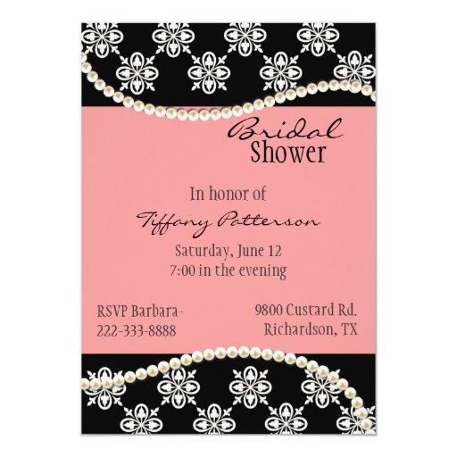 Invitación nupcial de la ducha de las perlas