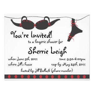 Invitación nupcial de la ducha de las prendas ínti