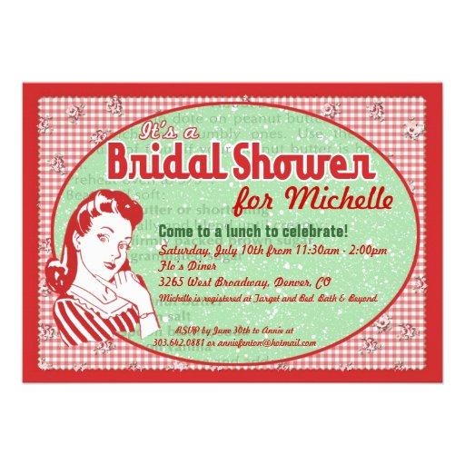 Invitación nupcial de la ducha de los años 50 hábi
