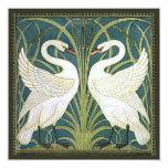 Invitación nupcial de la ducha de los cisnes del invitación 13,3 cm x 13,3cm