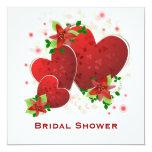 Invitación nupcial de la ducha de los corazones invitación 13,3 cm x 13,3cm