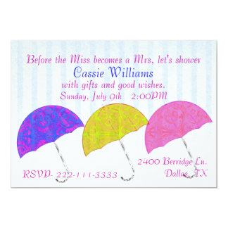 Invitación nupcial de la ducha de los paraguas