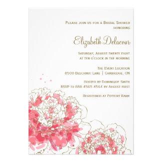 Invitación nupcial de la ducha de los Peonies rosa