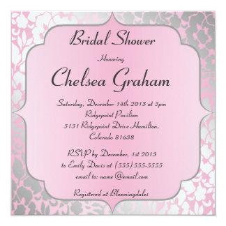 Invitación nupcial de la ducha de los rosas bebés