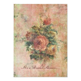 Invitación nupcial de la ducha de los rosas de la