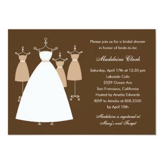 Invitación nupcial de la ducha de los vestidos invitación 12,7 x 17,8 cm