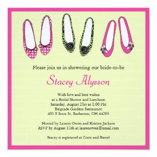 Invitación nupcial de la ducha de los zapatos