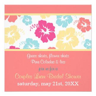 Invitación nupcial de la ducha de Luau del hibisco