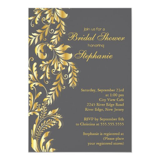 Invitación nupcial de la ducha de oro del remolino
