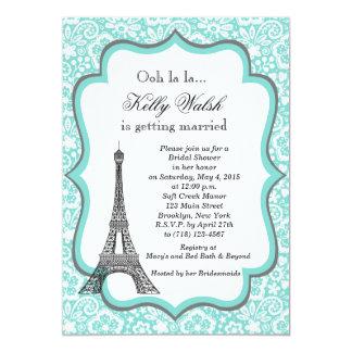 Invitación nupcial de la ducha de París de la