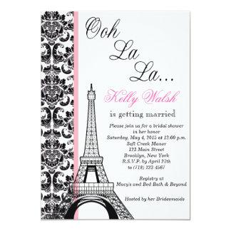 Invitación nupcial de la ducha de París del