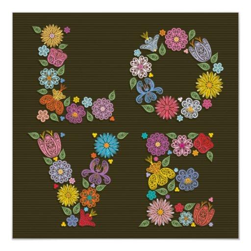 Invitación nupcial de la ducha del AMOR floral