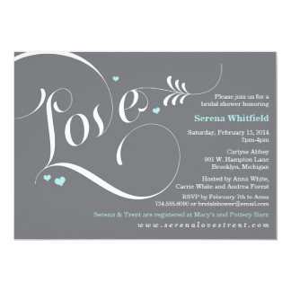 Invitación nupcial de la ducha del amor, Tiffany Invitación 12,7 X 17,8 Cm