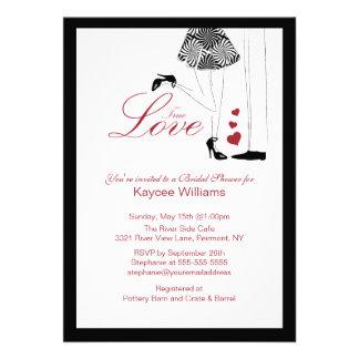 Invitación nupcial de la ducha del amor verdadero
