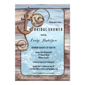 Invitación nupcial de la ducha del ancla náutica