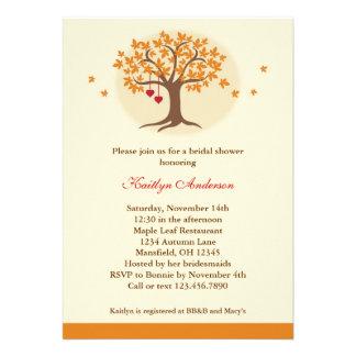 Invitación nupcial de la ducha del árbol de la caí