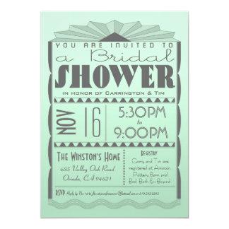 Invitación nupcial de la ducha del art déco - invitación 12,7 x 17,8 cm