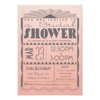 Invitación nupcial de la ducha del art déco -