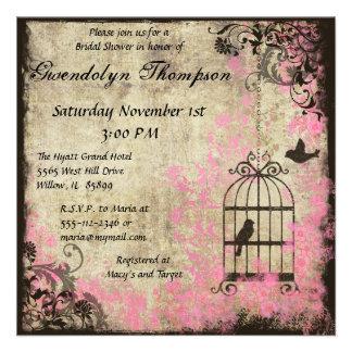 Invitación nupcial de la ducha del Birdcage floral