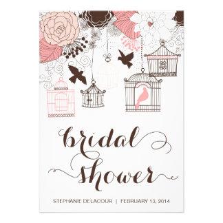 Invitación nupcial de la ducha del Birdcage rosado
