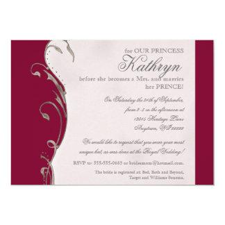 Invitación nupcial de la ducha del boda real de la