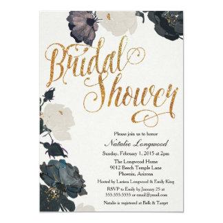 Invitación nupcial de la ducha del brillo, floral invitación 12,7 x 17,8 cm