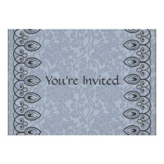 Invitación nupcial de la ducha del brocado azul cl