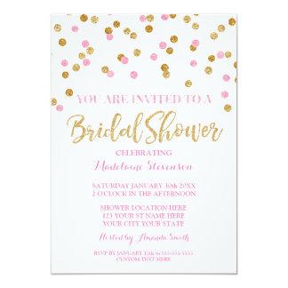 Invitación nupcial de la ducha del confeti rosado
