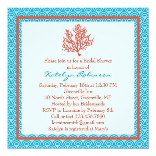 Invitación nupcial de la ducha del coral rojo