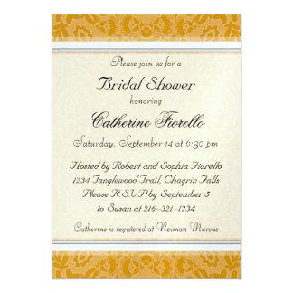 Invitación nupcial de la ducha del cordón de oro