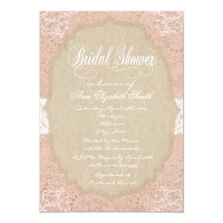 Invitación nupcial de la ducha del cordón rosado