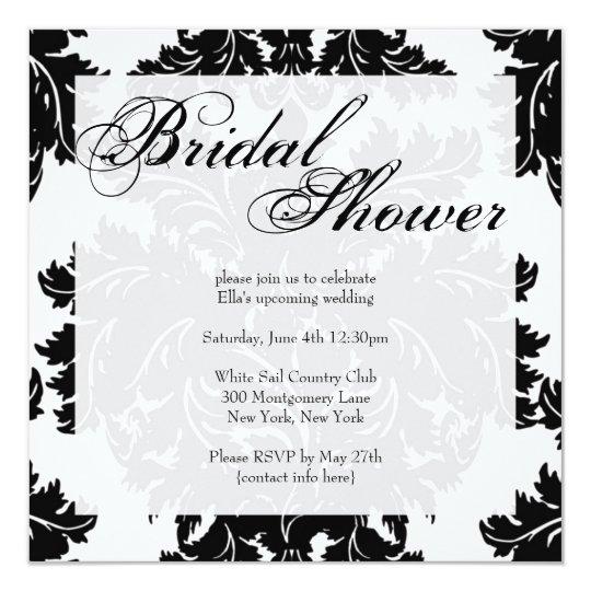 Invitación nupcial de la ducha del damasco