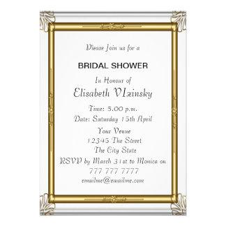 Invitación nupcial de la ducha del damasco azul