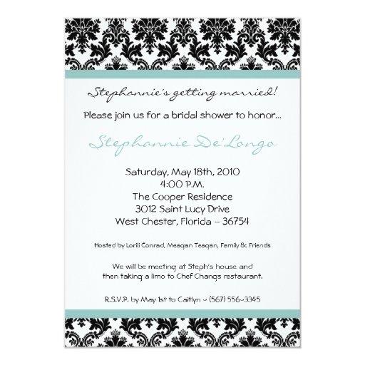 invitación nupcial de la ducha del damasco azul invitación 12,7 x 17,8 cm