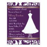 Invitación nupcial de la ducha del damasco púrpura