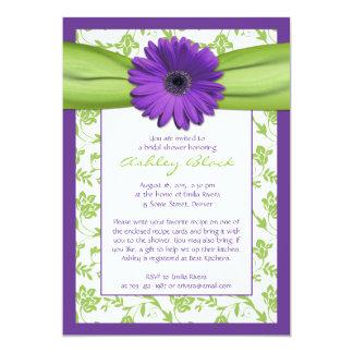 Invitación nupcial de la ducha del damasco verde