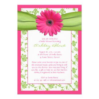 Invitación nupcial de la ducha del damasco verde r