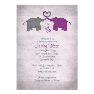 Invitación nupcial de la ducha del elefante púrpur