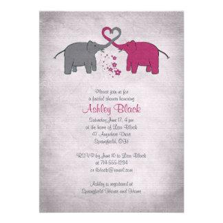Invitación nupcial de la ducha del elefante rosado