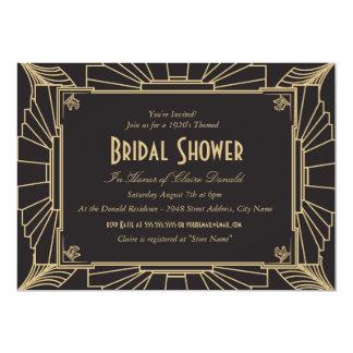 Invitación nupcial de la ducha del estilo del art
