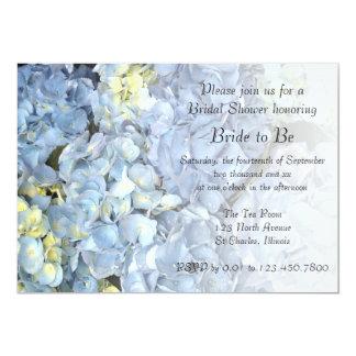 Invitación nupcial de la ducha del Hydrangea azul Invitación 12,7 X 17,8 Cm